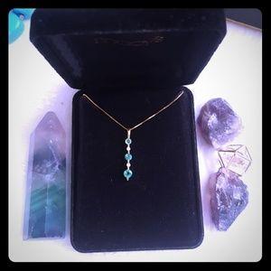 14k Gold Emeralds & Diamonds Necklace